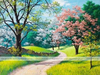 Tranh tô màu Con đường mùa xuân 16