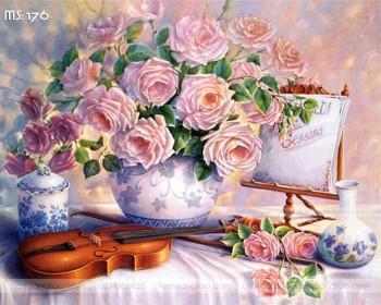 Tranh tô màu Hoa Hồng Bên Đàn Violin 176