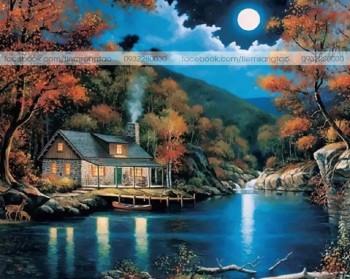 Tranh tô màu Nhà Đêm Trăng 18