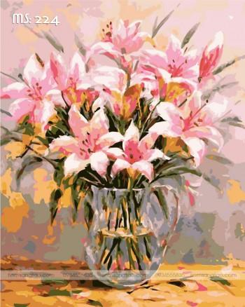 Tranh tô màu hoa ly hồng 224