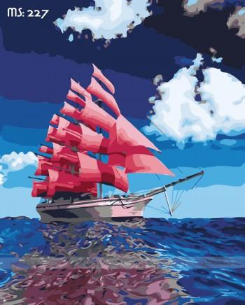 Tranh tô màu cánh buồm đỏ thắm 227