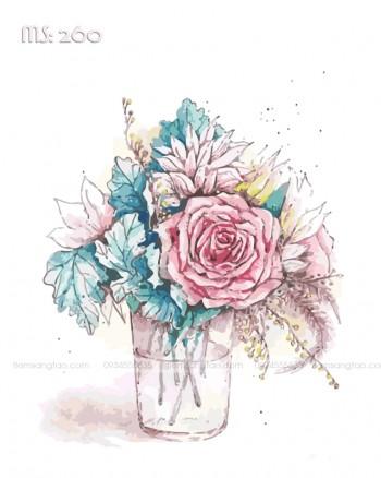 Tranh tô màu hoa hồng tinh khôi 260