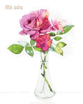 Tranh tô màu cành hồng tình yêu 262