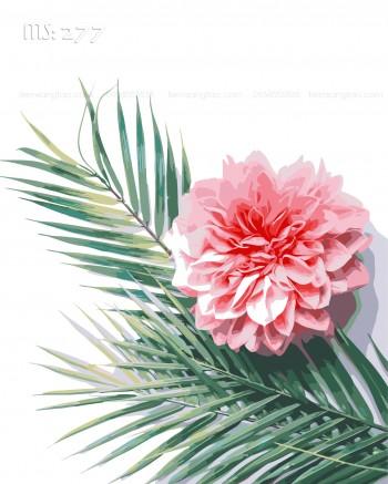 Tranh tô màu hoa trên lá cọ 277