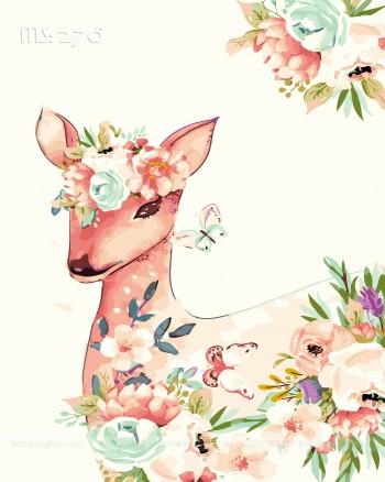 Tranh tô màu nai hoa 278