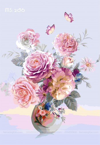 Tranh tô màu hoa hồng phú quý 286