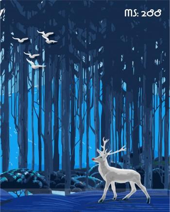 Tranh tô màu hươu trắng trong rừng 288