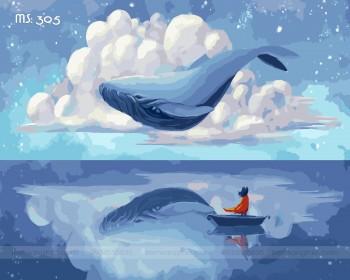 Tranh tô màu biển xanh và mây trắng 305