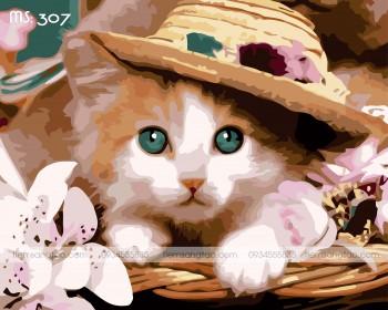 Tranh tô màu tiểu thư mèo 307