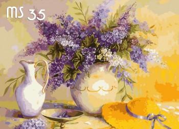 Tranh tô màu Bình Hoa Tím 35