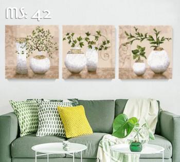Tranh tô màu Bộ 3 Bình cây phú quý 42