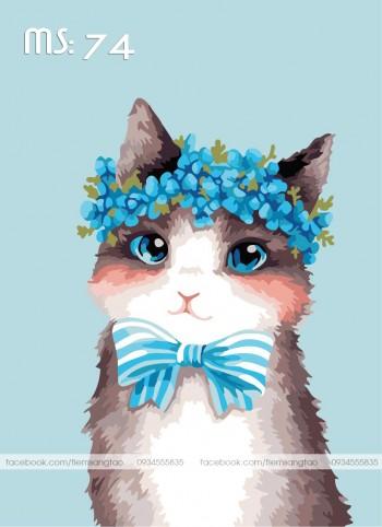 Tranh tô màu Mèo Nơ Xanh 74