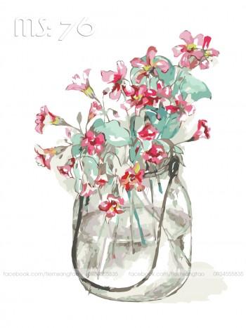 Tranh tô màu Hoa Nhí Đỏ 76