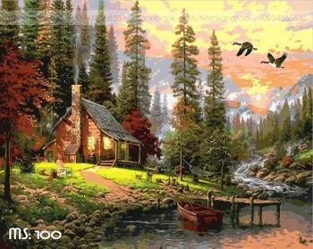 Tranh tô màu Nhà bên rừng 100