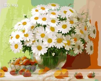 Tranh tô màu Lọ Hoa Cúc Trắng 102