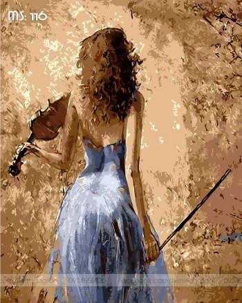 Tranh tô màu Cô Gái Bên Violin 116