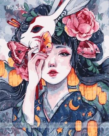 Tranh tô màu mặt nạ hoa MS 353
