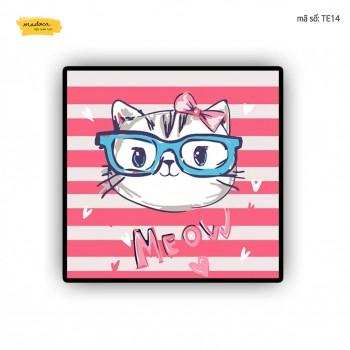 Tranh tô màu Mèo con đeo kính TE14