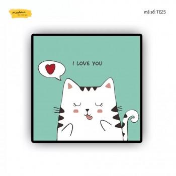 Tranh tô màu Mèo con tình yêu TE25