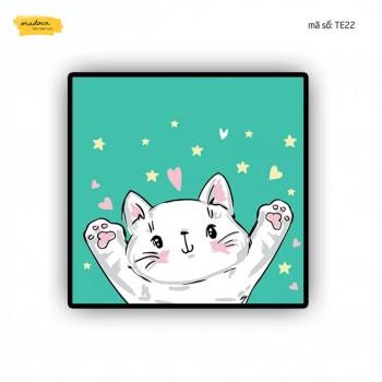 Tranh tô màu Mèo con xin chào TE22