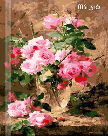 Tranh tô màu nét hoa hồng 316