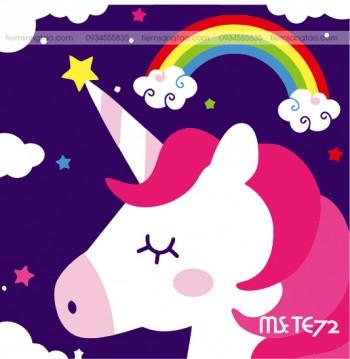 tranh tô màu theo số ngựa một sừng ước nguyện TE72