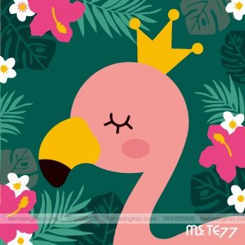 tranh tô màu theo số nữ vương hồng hạc TE77