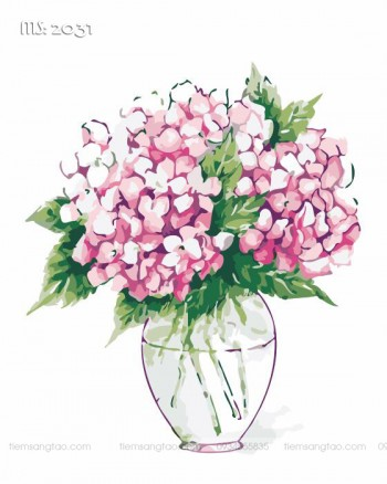 Tranh tô màu theo số bình hoa cẩm tú cầu T2031