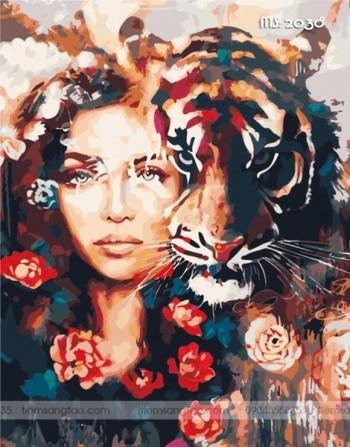 Tranh tô màu theo số chân dung cô gái bên hổ T2038