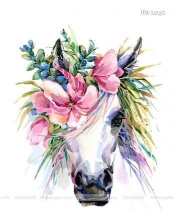 Tranh tô màu theo số chú ngựa bờm hoa T2052