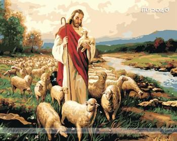 Tranh tô màu theo số chúa Jesus và đàn cừu T2048