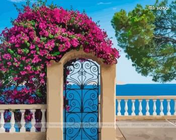 Tranh tô màu theo số cổng vòm hoa giấy T2059