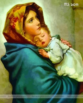 Tranh tô màu theo số Đức mẹ Maria T2011