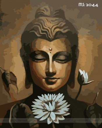Tranh tô màu theo số Đức Phật bên hoa T2044 sz40x50