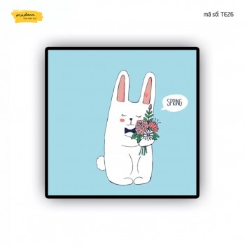 Tranh tô màu Thỏ con cầm hoa TE26