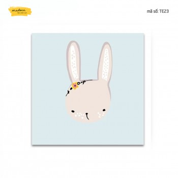 Tranh tô màu Thỏ con dễ thương TE23