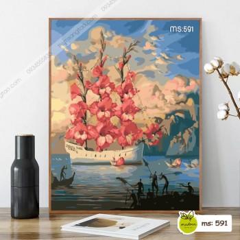 Tranh tô màu thuyền hoa T591