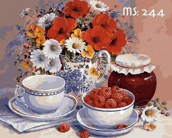 Tranh tô màu trà hoa 244