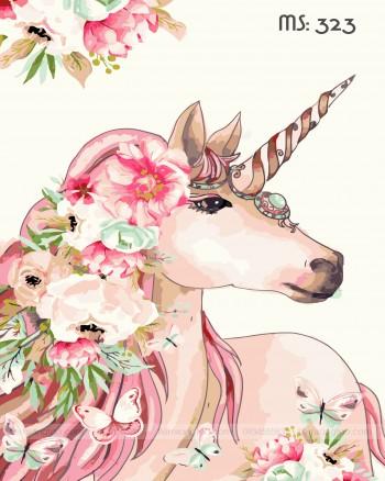 Tranh tô màu unicorn hoa 323