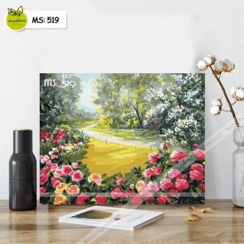 Tranh tô màu vườn hồng T519
